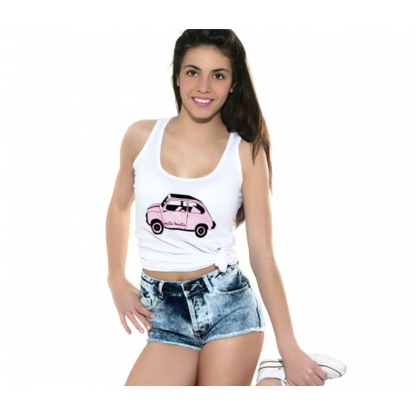 Camiseta tirantes con el diseño del 600 en color rosita