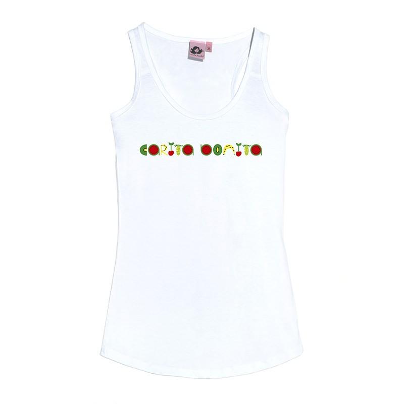 Camiseta tirantes letras carita bonita con frutas - Carita Bonita 5264177e869