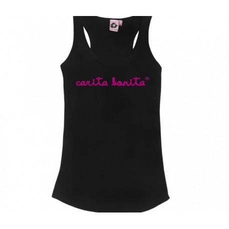 Camiseta tirantes con letras de carita bonita en rosa flúor