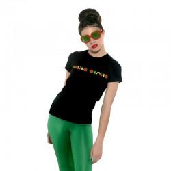 Camiseta manga corta negra con letras carita bonita con frutas