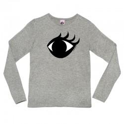 Camiseta manga larga gris diseño bien de ojo