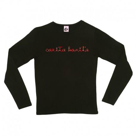 Camiseta manga larga negra letras de carita bonita cuadros escoceses