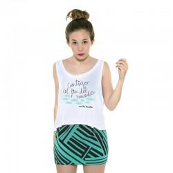 Camiseta boxy tirantes blanca diseño contigo al fin del mundo
