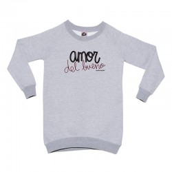 Sudadera larga gris diseño amor del bueno