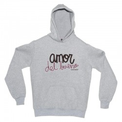 "Sudadera gris diseño ""Amor del bueno"" (Edición corazonada)"