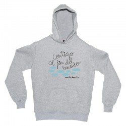 Sudadera gris diseño contigo al fin del mundo