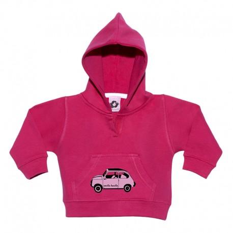 Sudadera para bebé con capucha color diseño 600 rosita