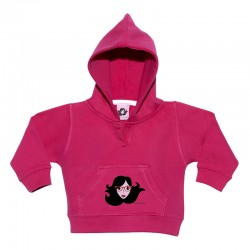 Sudadera para bebé con capucha color diseño cara con gafas.