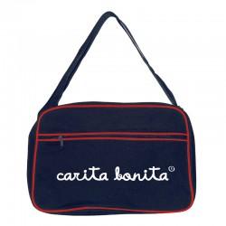 Bolsa retro grande marino con ribete rojo diseño letras de carita bonita blancas