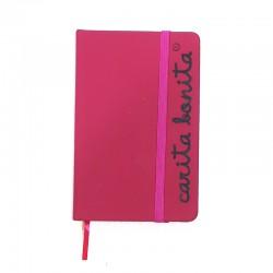 Libreta rosa fucsia letras carita bonita negra
