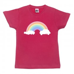 Camiseta manga corta para niños rosa fucsia diseño arcoíris
