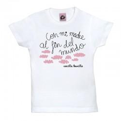Camiseta manga corta para niños en diferentes colores diseño con mi madre al fin del mundo