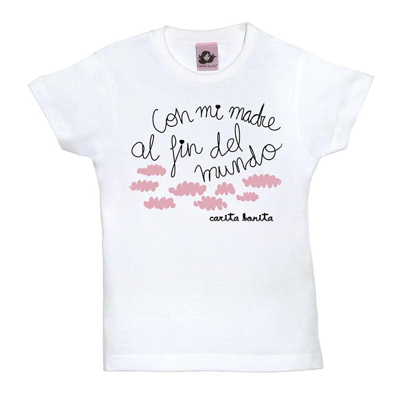9760e9ccb54 Camiseta manga corta para niños en diferentes colores diseño con mi madre  al fin del mundo