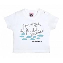 Camiseta manga corta para bebé blanca diseño con mi padre al fin del mundo
