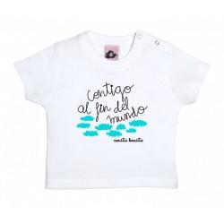 Camiseta manga corta para bebé blanca diseño contigo al fin del mundo