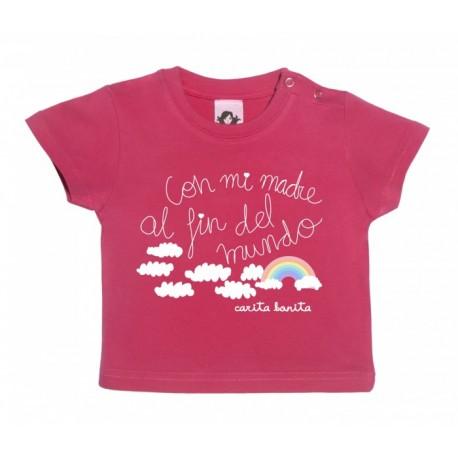 Camiseta para bebé azulona diseño con mi madre al fin del mundo edición arcoíris