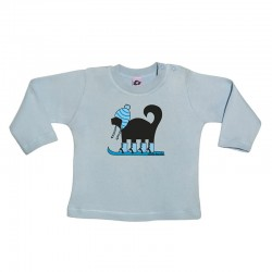 Camiseta manga larga para bebé diseño perro esquiador
