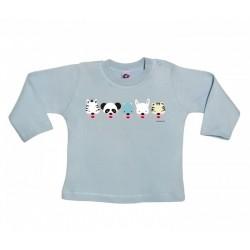 Camiseta manga larga para bebé diseño caretas