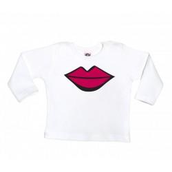 Camiseta manga larga para bebé blanca diseño el beso