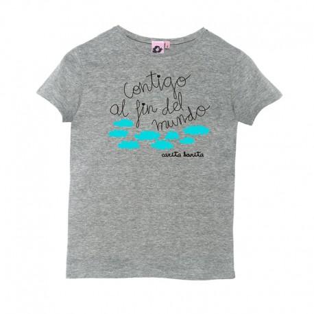 Camiseta manga corta gris diseño contigo al fin del mundo