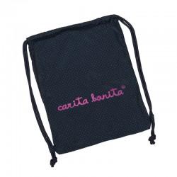 Bolsa mochila fucsia letras de carita bonita negras