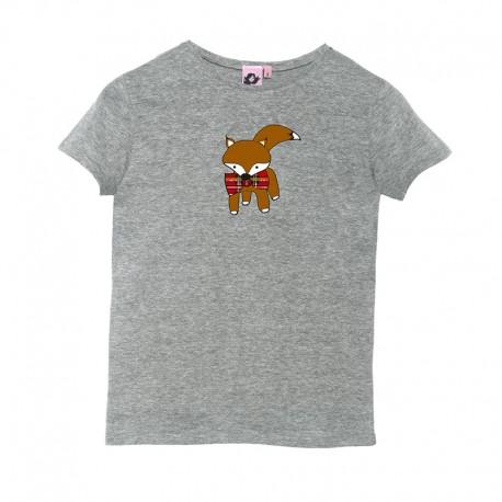 Camiseta manga corta gris diseño zorrito
