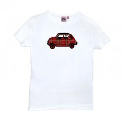 Camiseta manga corta blanca con el 600 de cuadros escoceses