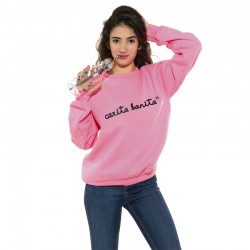 Sudadera sin capucha rosa fluor letras negras