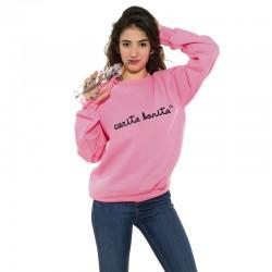 Sudadera sin capucha rosa fluor letras negras