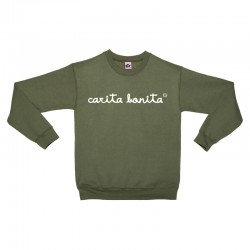 Sudadera sin capucha verde militar letras blancas