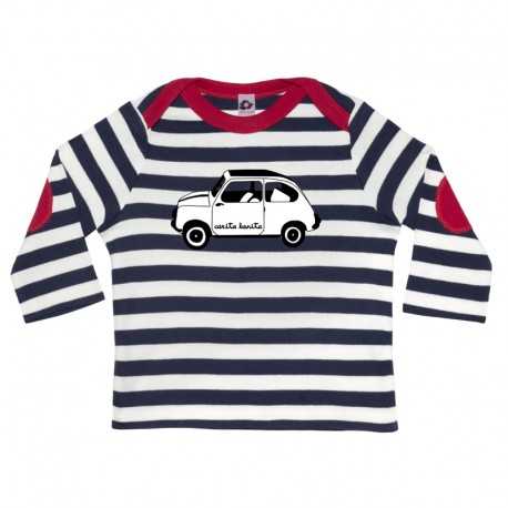 Camiseta manga larga para bebé rayas marino y 600 blanco