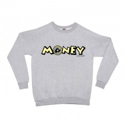 Sudadera sin capucha gris diseño letras Money