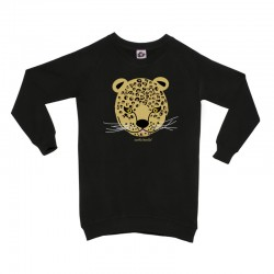 Sudadera larga negra diseño leopardo