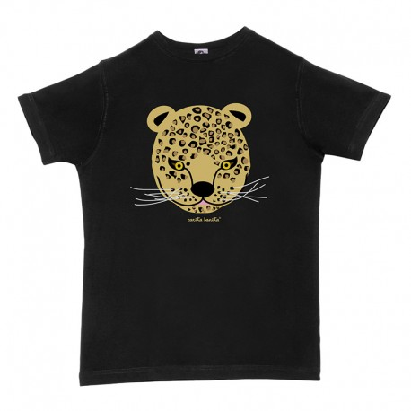 Camiseta manga corta hombre negra Leopardo
