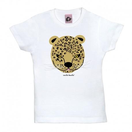 Camiseta manga corta para niños blanca diseño Leopardo