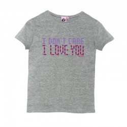 Camiseta manga corta gris diseño I don´t care I love you
