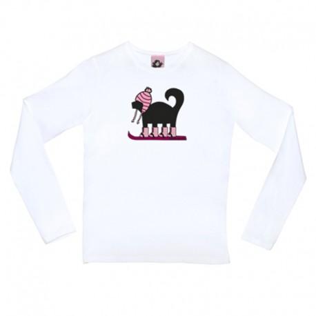 Camiseta manga larga diseño perro esquiador rosa