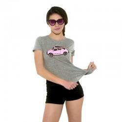 Camiseta manga corta gris con el 600 rosita