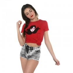 Camiseta manga corta roja diseño cara gafas de ver