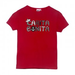 Camiseta manga corta roja diseño letras marineras