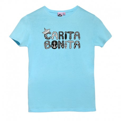 Camiseta manga corta azulita diseño letras marineras