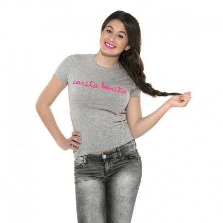 Camiseta manga corta gris letras de carita bonita rosa flúor