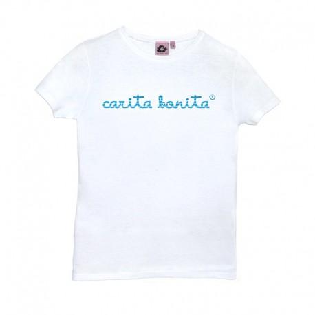 Camiseta manga corta blanca letras de carita bonita rayas azules