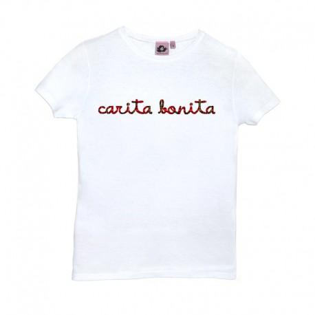 Camiseta manga corta blanca con letras de carita bonita en cuadros escoceses
