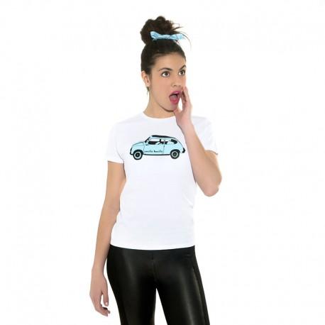 Camiseta manga corta blanca diseño el 600 en color azulito