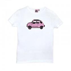 Camiseta manga corta blanca diseño el 600 en color rosa