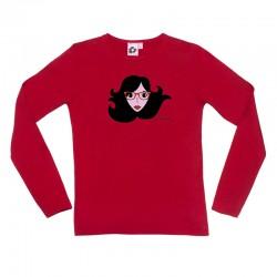 Camiseta manga larga roja cara gafas de ver