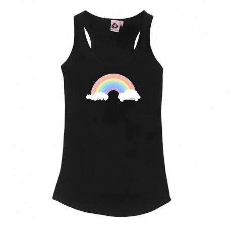 Camiseta tirantes negra diseño arcoíris
