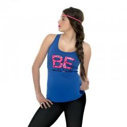 Camiseta tirantes azulona diseño Be carita bonita