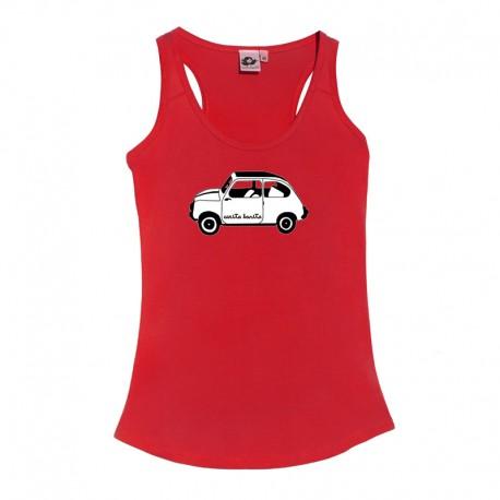 Camiseta tirantes roja el 600 blanco